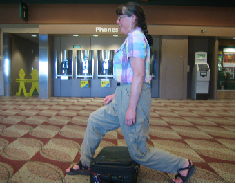 Dianne Roth doing her fitness routine at  the Eugene Airport.