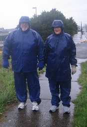 Cindy and Ron Perez,  dressed for the weather